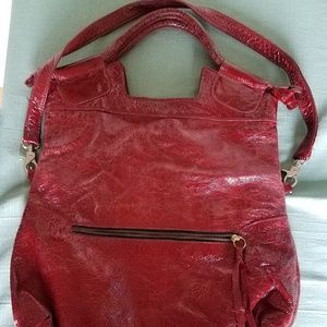 Foley + Corinna red distressed patent City Tote